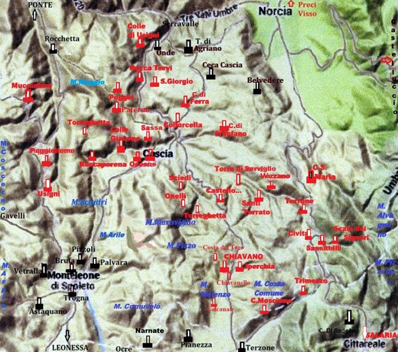 Torri e castelli del territorio Casciano e confinanti di Norcia, Monteleone e Leonessa.
