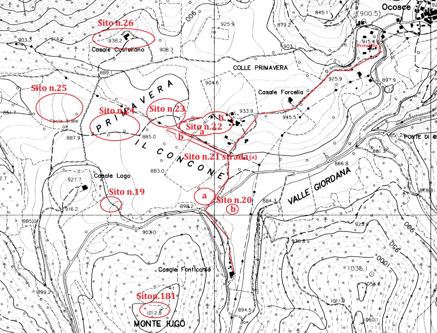Alle ricognizioni seguì la localizzazione in una carta archeologica territoriale Nella cartina sono localizzati i siti archeologici dei Casali di Ocosce