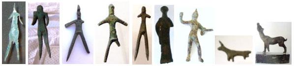 Bronzetti vari a lamina ritagliata o schematici fusi, anche di animali